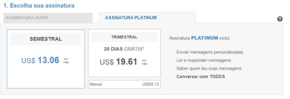 Plano Oro Match.com Preço
